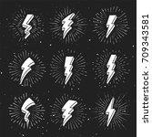 vintage 3d lightning bolt signs ... | Shutterstock .eps vector #709343581