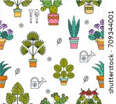 potted plants. seamless vector...   Shutterstock .eps vector #709344001