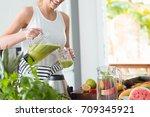 happy woman on detox diet ... | Shutterstock . vector #709345921