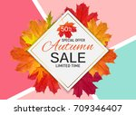 shiny autumn leaves sale banner.... | Shutterstock .eps vector #709346407