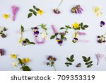"word ""love"" made of flowers | Shutterstock . vector #709353319"