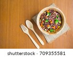 vegetarian fried rice dish of... | Shutterstock . vector #709355581