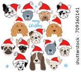 vector set of  dog's face in... | Shutterstock .eps vector #709360141