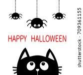 happy halloween. black cat face ... | Shutterstock .eps vector #709361155