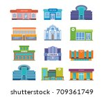 set of urban buildings and... | Shutterstock .eps vector #709361749
