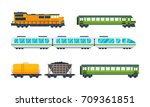 railway locomotive with various ... | Shutterstock .eps vector #709361851
