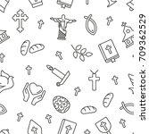 christian symbols seamless... | Shutterstock .eps vector #709362529