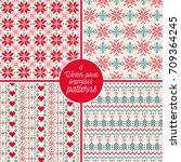 set of 4 winter pixel seamless... | Shutterstock .eps vector #709364245