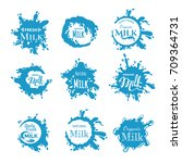vector set of the milk splashes.... | Shutterstock .eps vector #709364731