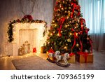 christmas and new year... | Shutterstock . vector #709365199