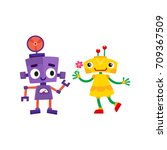 vector flat cartoon funny... | Shutterstock .eps vector #709367509