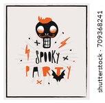 halloween card. | Shutterstock .eps vector #709368241
