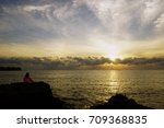 sunset scene in the sea | Shutterstock . vector #709368835