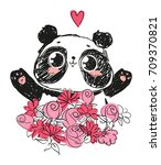 cute panda bear  vector... | Shutterstock .eps vector #709370821