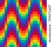 pixel wave rainbow background... | Shutterstock .eps vector #709371607
