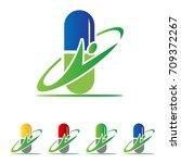 capsule medicine logo | Shutterstock .eps vector #709372267