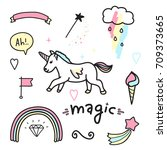 magic colorful set. unicorn ... | Shutterstock .eps vector #709373665