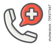 emergency call filled outline... | Shutterstock .eps vector #709377667