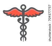 caduceus filled outline icon ... | Shutterstock .eps vector #709377757