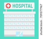 hospital building flat icon ... | Shutterstock .eps vector #709377967