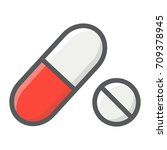 pills filled outline icon ... | Shutterstock .eps vector #709378945