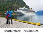 cruise liner. aurlandsfjord... | Shutterstock . vector #709380025