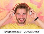 blue eyed stylish hipster with...   Shutterstock . vector #709380955