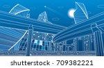 transportation overpass bridge  ... | Shutterstock .eps vector #709382221