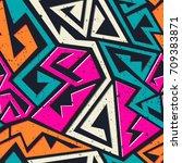 graffiti geometric seamless... | Shutterstock .eps vector #709383871