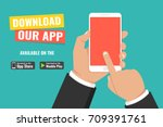 download page of the mobile app.... | Shutterstock .eps vector #709391761
