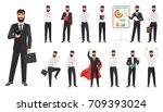 set of happy businessman... | Shutterstock .eps vector #709393024