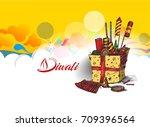 diwali crackers hand drawn...   Shutterstock .eps vector #709396564