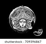 happy navratri  vector... | Shutterstock .eps vector #709396867