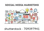 social media marketing. signs... | Shutterstock . vector #709397941