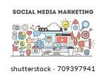 social media marketing. signs... | Shutterstock . vector #709397941