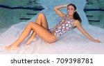 attractive model wearing a...   Shutterstock . vector #709398781