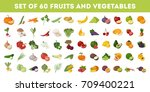 fruits and vegetables icons set.... | Shutterstock . vector #709400221