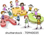 Illustration of Kids Playing with Giant Letters of the Alphabet - stock vector
