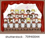 Illustration of a Children's Choir Performing on Stage - stock vector