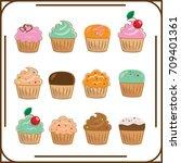 twelve different cupcakes on... | Shutterstock .eps vector #709401361