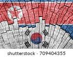south korea and north korea's...   Shutterstock . vector #709404355