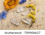 five quartz crystal points... | Shutterstock . vector #709406617