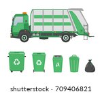 garbage truck and garbage cans...   Shutterstock .eps vector #709406821