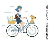 woman artist and her dog riding ... | Shutterstock .eps vector #709407187