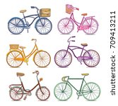 vector bicycle set. hand drawn... | Shutterstock .eps vector #709413211