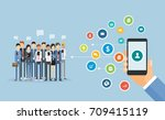 flat business mobile marketing... | Shutterstock .eps vector #709415119