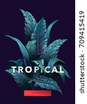 bright tropical background with ... | Shutterstock .eps vector #709415419