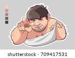 russian thug  crime. vector... | Shutterstock .eps vector #709417531