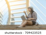 engineer woman work with... | Shutterstock . vector #709423525