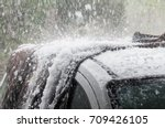 large hail stones pelting car... | Shutterstock . vector #709426105
